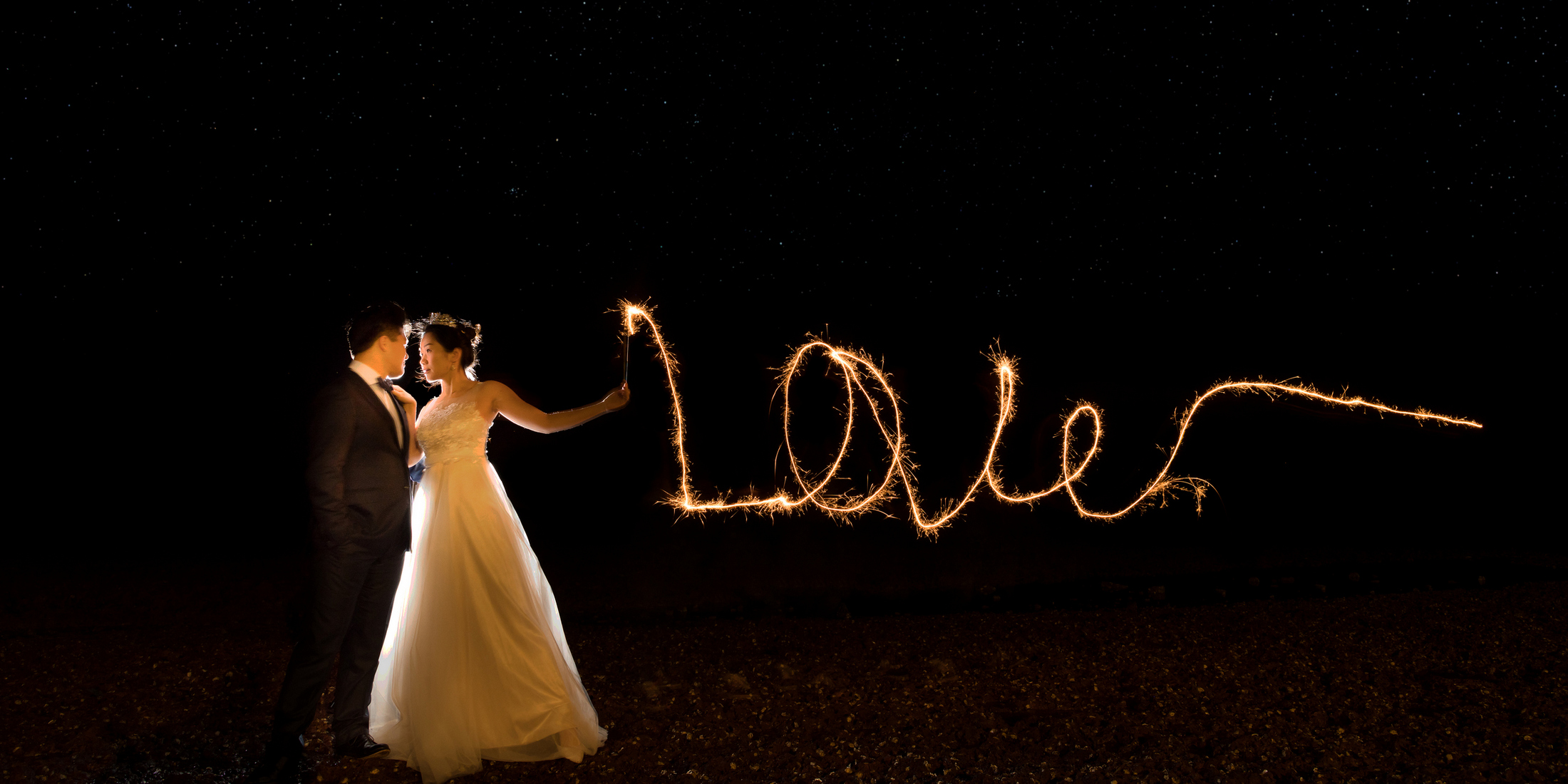 Wedding photo of fire work in Brisbane