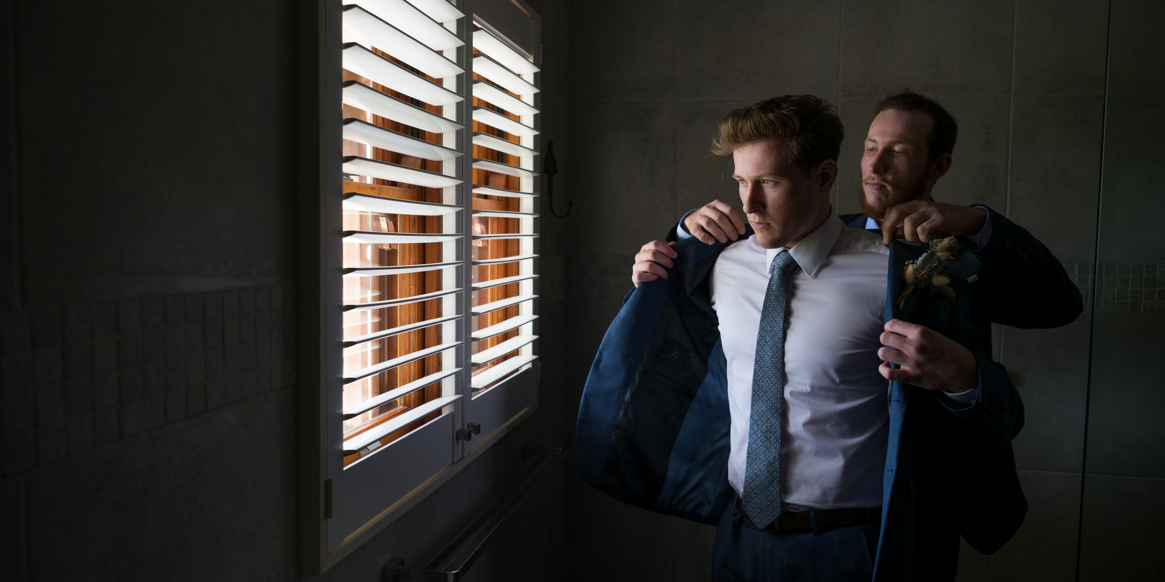 Wedding getting ready photo of groom