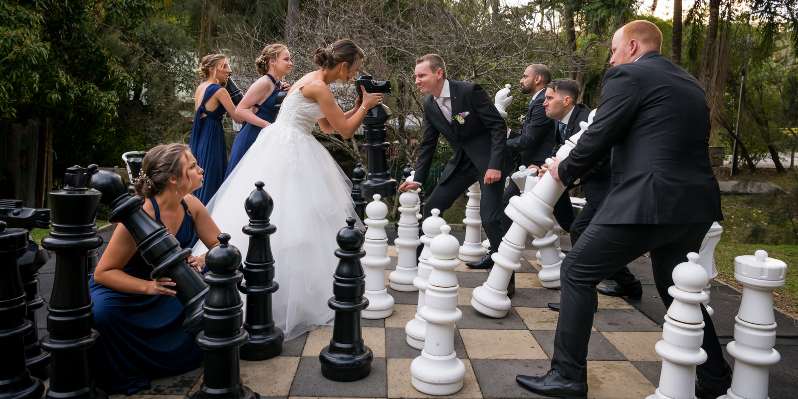 Chess battle wedding photo in Brisbane